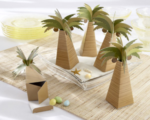 Palm Tree Favor Box with Multi-dimensional Detail (Set of 24)-palm tree beach wedding favor box