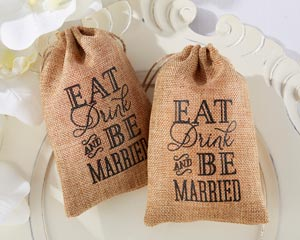"""""""EAT, DRINK AND BE MARRIED"""" BURLAP FAVOR BAGS (SET OF 12)"""