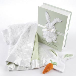 """Bunnies in the Garden"" Luxurious 3-Piece Blanket Gift Set"