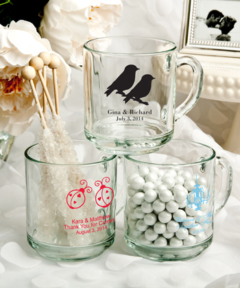 Personalized 10 Oz. glass Handy mug favors