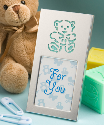 Adorable baby blue teddy bear picture frames