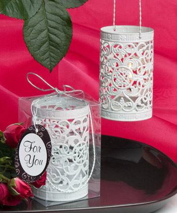 Metal filigree design luminary favor