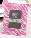 Pink/blue/black zebra pattern place card holder/picture frame favors