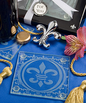 Fleur de lis design set of 2 coasters and bottle opener set