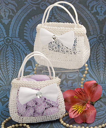 Pocketbook shaped treat bag in white woven rattan