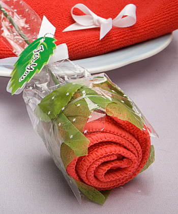 Remarkable long stem rose towel favor
