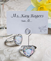Heart shaped engagement ring place card/photo holders