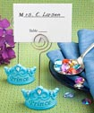 Blue crown design place card holders