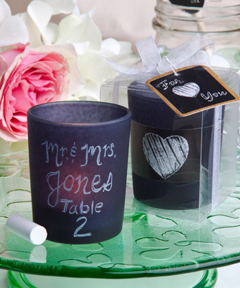 blackboard design candle favors