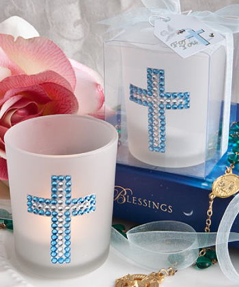 BLING COLLECTION CROSS CANDLE FAVORS - BOY