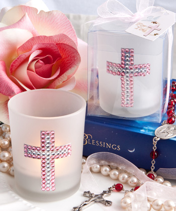 BLING COLLECTION CROSS CANDLE FAVORS - GIRL