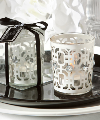 White-Accented Candle Holder