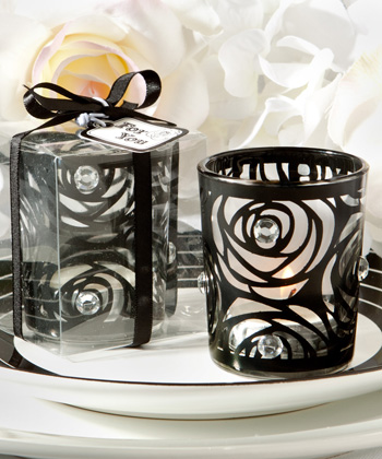 Black-Rose Candle Holder Favors-Black-Rose Candle Holder Favors