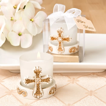 VINTAGE CROSS THEMED CANDLE VOTIVE FROM FASHIONCRAFT