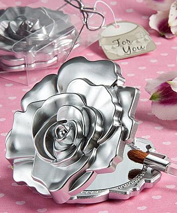 Realistic rose design mirror compacts