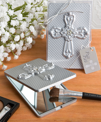 Compact Mirror With Ornate Cross From Fashioncraft