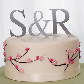 Brushed Silver Monogram Cake Topper
