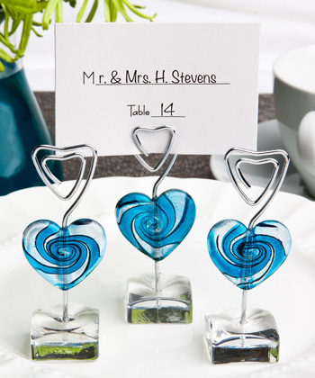 Murano Glass Collection blue heart design place card holders
