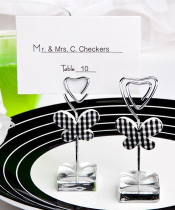 White and black butterfly design place card/photo holders