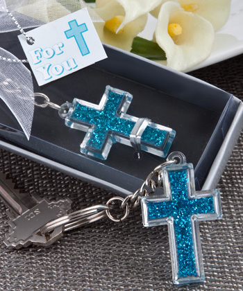 Blue Cross Design Key Chains