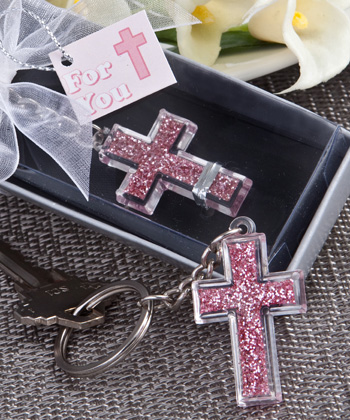Pink Cross Design Key Chains