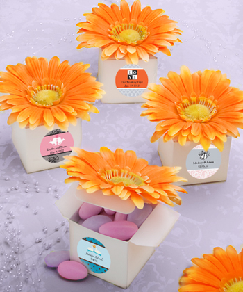Classy orange pink gerbera-daisy-adorned box favors