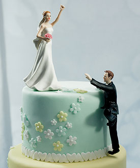 Climbing Groom Victorious Bride Mix Match Cake Toppers