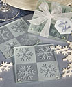 Lustrous snowflake glass coaster set of 2