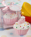 Blue/Pink cupcake design candle favors