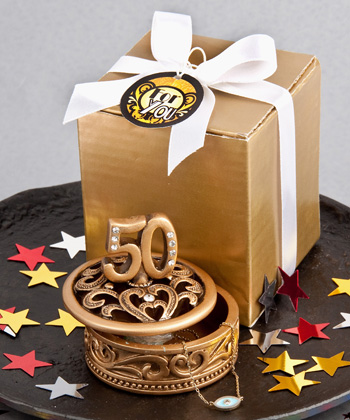 """50"" Themed Gold Curio Box Favors"