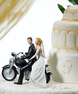 Motorcycle Get-away Wedding Couple Figurine - Wedding Cake Topper