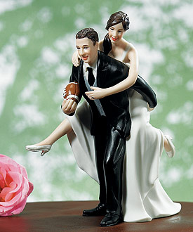 Playful Football Wedding Couple Figurine - Wedding Cake Topper