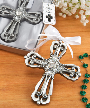 Silver Cross Ornament with Antique Finish
