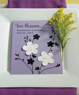 Love Blossoms Personalized Favor Card with Two Seeded Paper Blossoms ( Set of 12 )