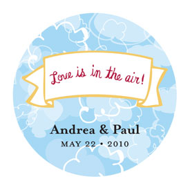 Love is in the Air Round Cloud Sticker (set of 50)