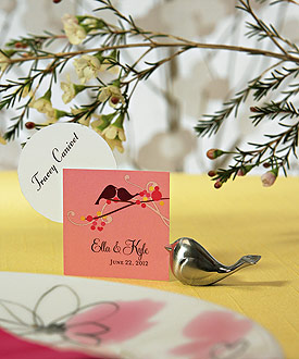 Love Bird Card Holders with Brushed Silver Finish - Set of 8
