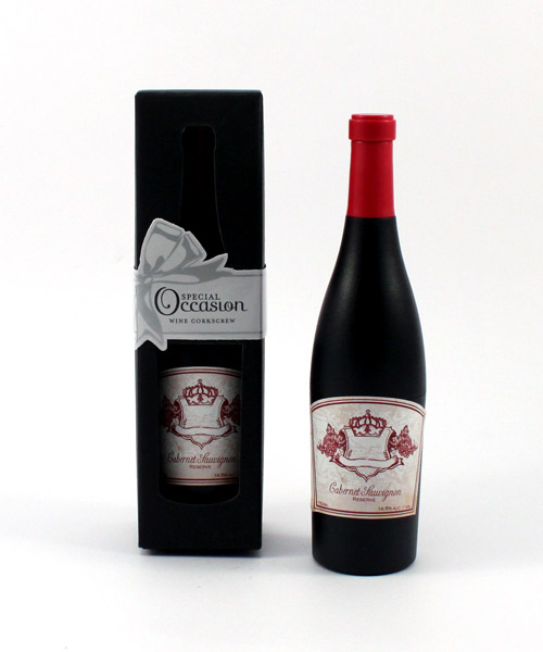 Wine Bottle Shaped Corkscrew in Gift Packaging