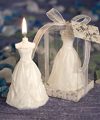 Elegant Wedding Gown Candle Favors-Elegant Wedding Gown Candle Favors