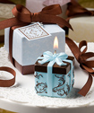 Brown and Blue Gift Box Collection candle favor