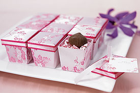 Asian Pink Brocade Wedding Favor Boxes - Set of 6
