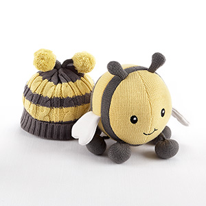 """Critter Couture Caps by Baby Aspen"" Knit Bee Plush Toy and Knit Cap for Baby"