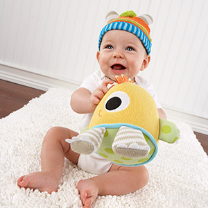 """""""Clyde the Closet Monster"""" Knit Baby Hat and Plush Toy Gift Set"""