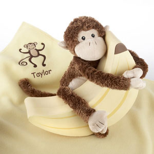 Plush Monkey Magoo and Blankie Too! in Keepsake Banana Gift Box (Personalization Available)