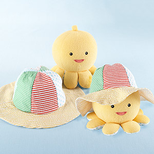 """""""Little Wader and Sun Shader"""" Baby Sunhat and Plush Octopus Gift Set"""
