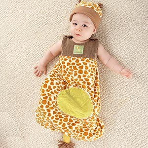 """Born To Be Wild"" Giraffe Snuggle Sack and Hat"