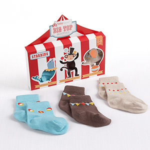 """Big Top Booties"" Set of Three Circus-Themed Socks"