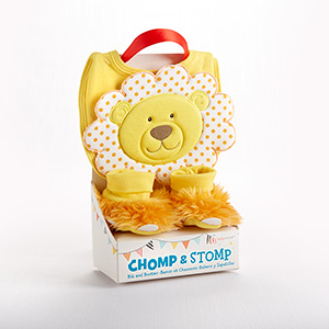 """Chomp & Stomp"" Lion Bib and Booties Gift Set"