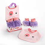 """Chomp & Stomp"" Monster Bib and Booties Gift Set"