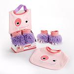 """Chomp & Stomp"" Monster Bib and Booties Gift Set"
