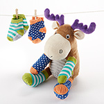 """Moose Tracks"" Moose Plush with Socks for Baby"
